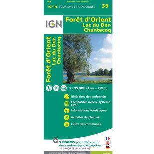 IGN Foret d'Orient (39) - Wandel- en Fietskaart