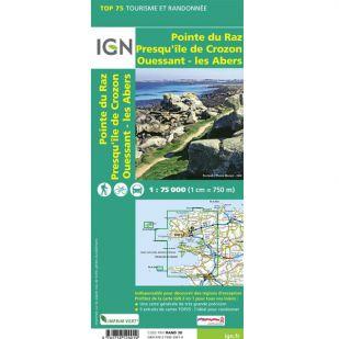 IGN Bretagne (24) - Pointe du Raz, Presqu'ile de Crozon, Ouessant - les Abers - Wandel- en Fietskaart