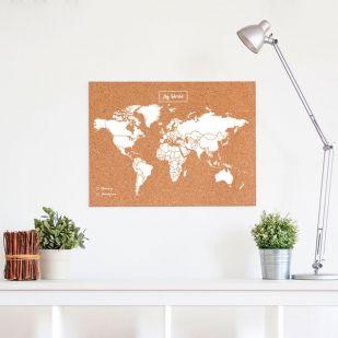 Kurk prikbord wereldkaart - 60 x 45 cm