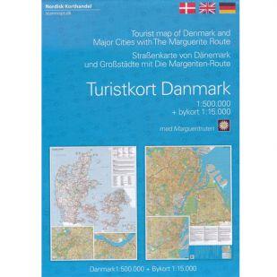 Overzichtskaart Denemarken met de Margrietroute