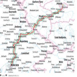 Munchen/Regensburg - Praag  Bikeline Fietsgids !